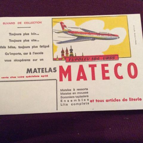 troc de  Réserve Gribouilette Buvard années 50/60 21 x13,5 tupolev 104 URSS Bon état, sur mytroc