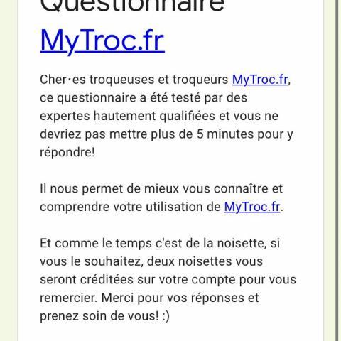troc de  Questionnaire, sur mytroc