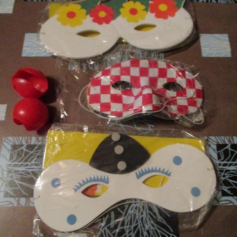 troc de  5 masques ou loup carnaval 2 nez de clown, sur mytroc