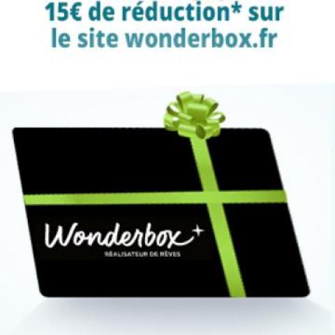 troc de  Bon 15 euros réduction sur Wonderbox - validité 31/12/21, sur mytroc
