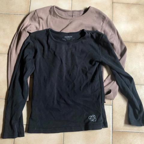 troc de  2 T-shirts Manches longues beige noir 10 ans Orchestra, sur mytroc