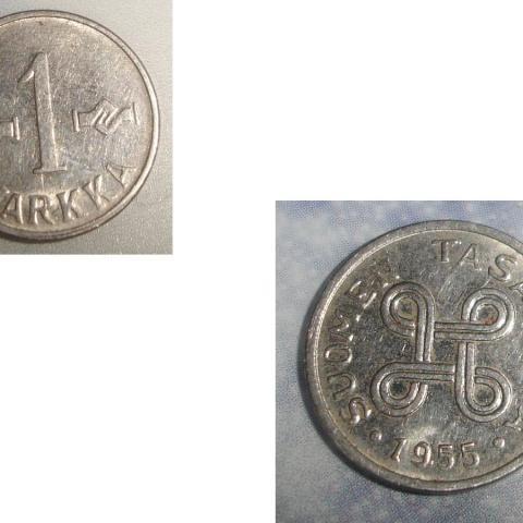 troc de  1 Monnaie Finlande Suomen Tasavalta 1 MARKKA soit 1955 ou 1957 ou 1960, sur mytroc