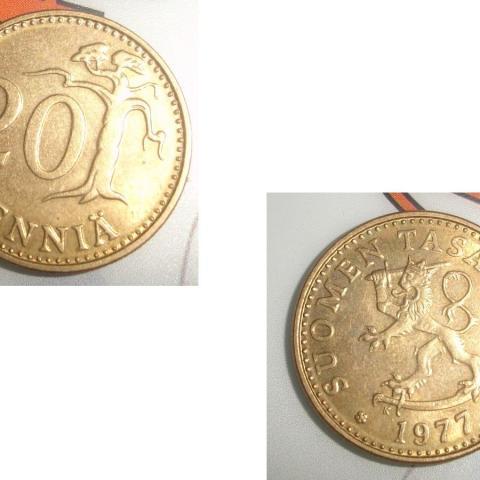 troc de  Pièce monnaie Finlande Suomen Tasavalta 20 PENNIÄ de 1977, sur mytroc