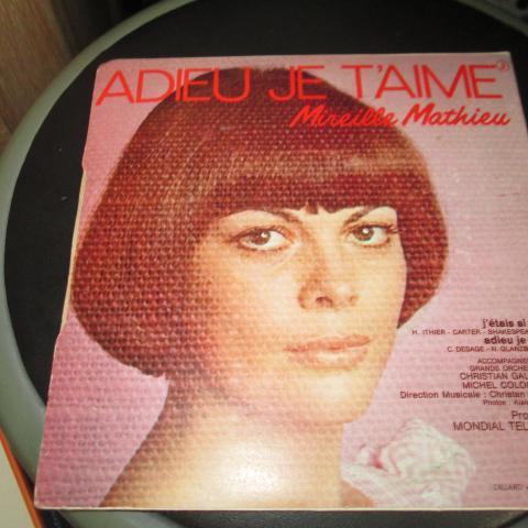 troc de  vinyle 45 tours Mireille Mathieu  Adieu je t'aime 3 noisettes, sur mytroc