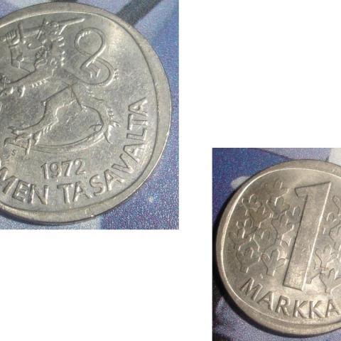 troc de  1 Pièce monnaie Finlande Suomen Tasavalta 1 MARKKA / MARK soit 1972 ou 1974 ou 1975, sur mytroc