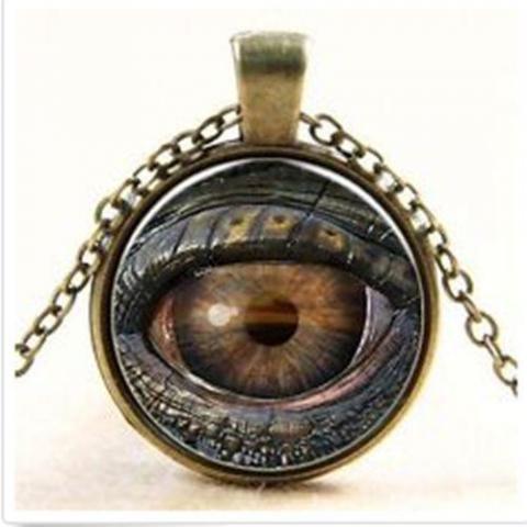 """troc de  Cabochon Bronze Verre Collier Chaîne """" Mauvais Oeil """" + chaine, sur mytroc"""