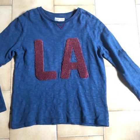 troc de  T-shirt sweat bleu Zara Brodé LA 10 ans  100% coton, sur mytroc