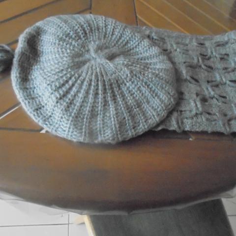 troc de  echarpe + bonnet gris       3  noisettes, sur mytroc