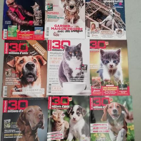 Lot de 9 Magazines 30 Millions d'Amis