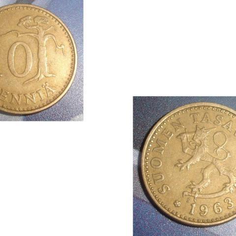 troc de  1 Pièce monnaie Finlande Suomen Tasavalta 10 PENNIÄ soit 1963 ou 1966 ou 1978, sur mytroc