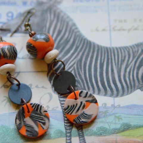 """troc de  Boucles d'oreilles  """"zebre"""" réservées, sur mytroc"""