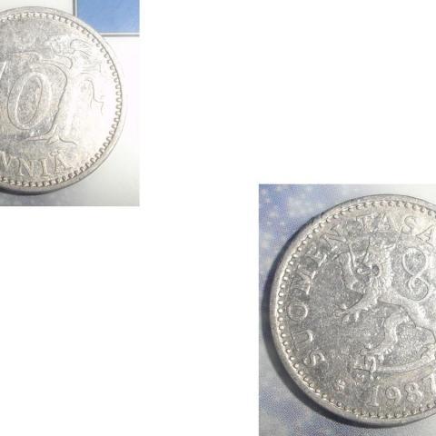 troc de  1 Monnaie Finlande Suomen Tasavalta 10 PENNIÄ ALU soit 1987 ou 1988 ou 1990, sur mytroc