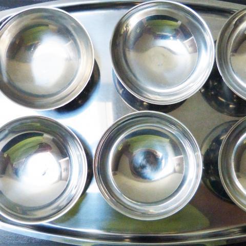 troc de  6 coupes avec plateau en inox, sur mytroc