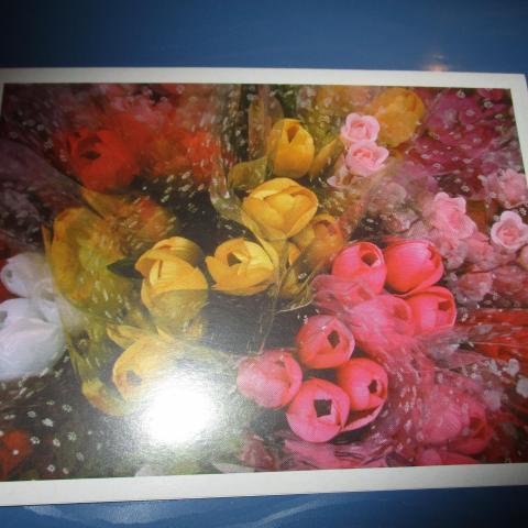 troc de  carte double neuve bouquet de tulipes, sur mytroc