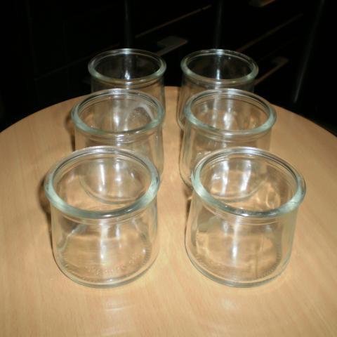 troc de  6 pots créme dessert en verre nfs, sur mytroc