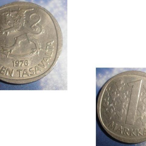 troc de  1 Pièce monnaie Finlande Suomen Tasavalta 1 MARKKA / MARK soit 1976 ou 1977, sur mytroc