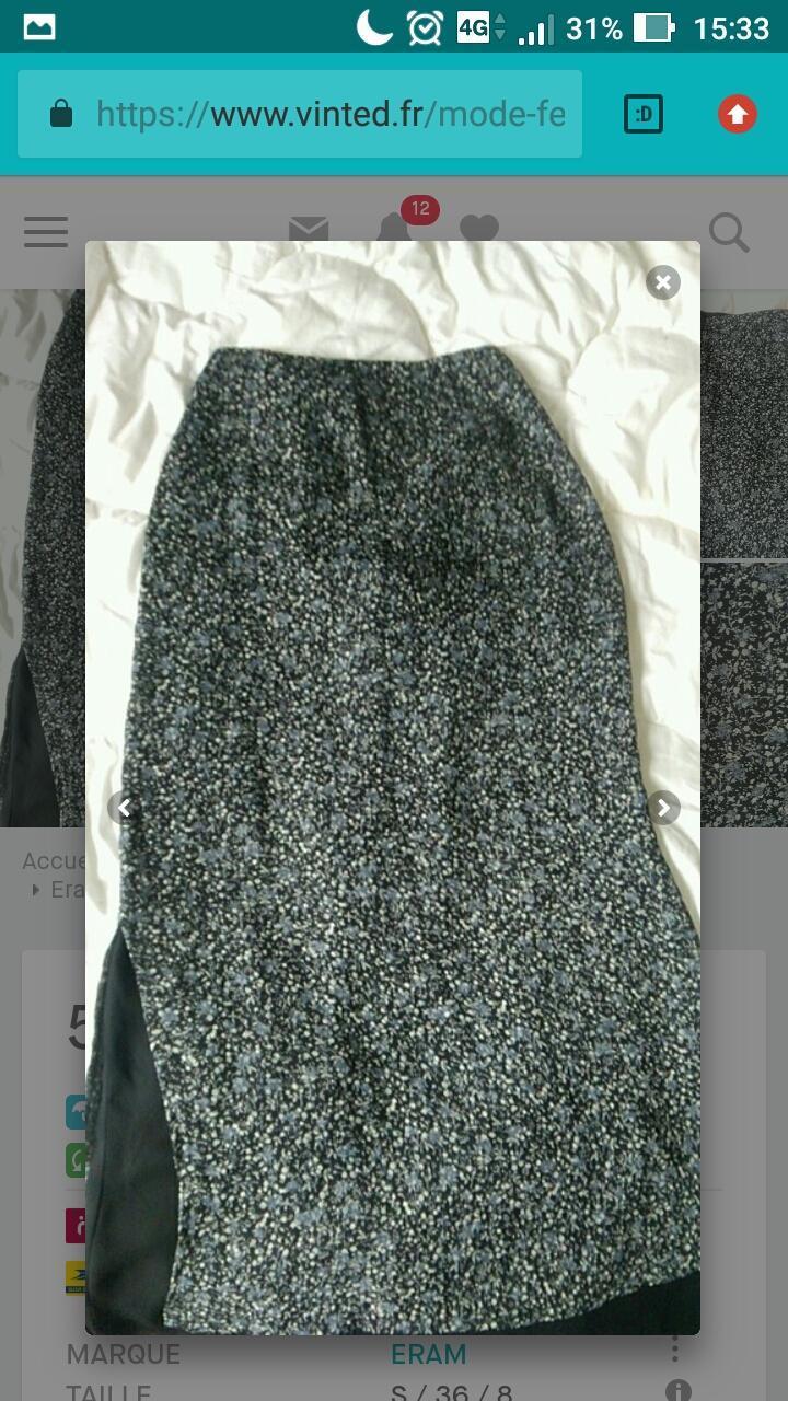 707b96505a58af Troc Jupe longue etam neuve taille 36 noir motifs fleuris