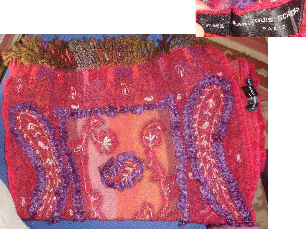 troc de troc Écharpe brodÉe & frangÉe j-louis scherrer 100 % wool / laine image 1
