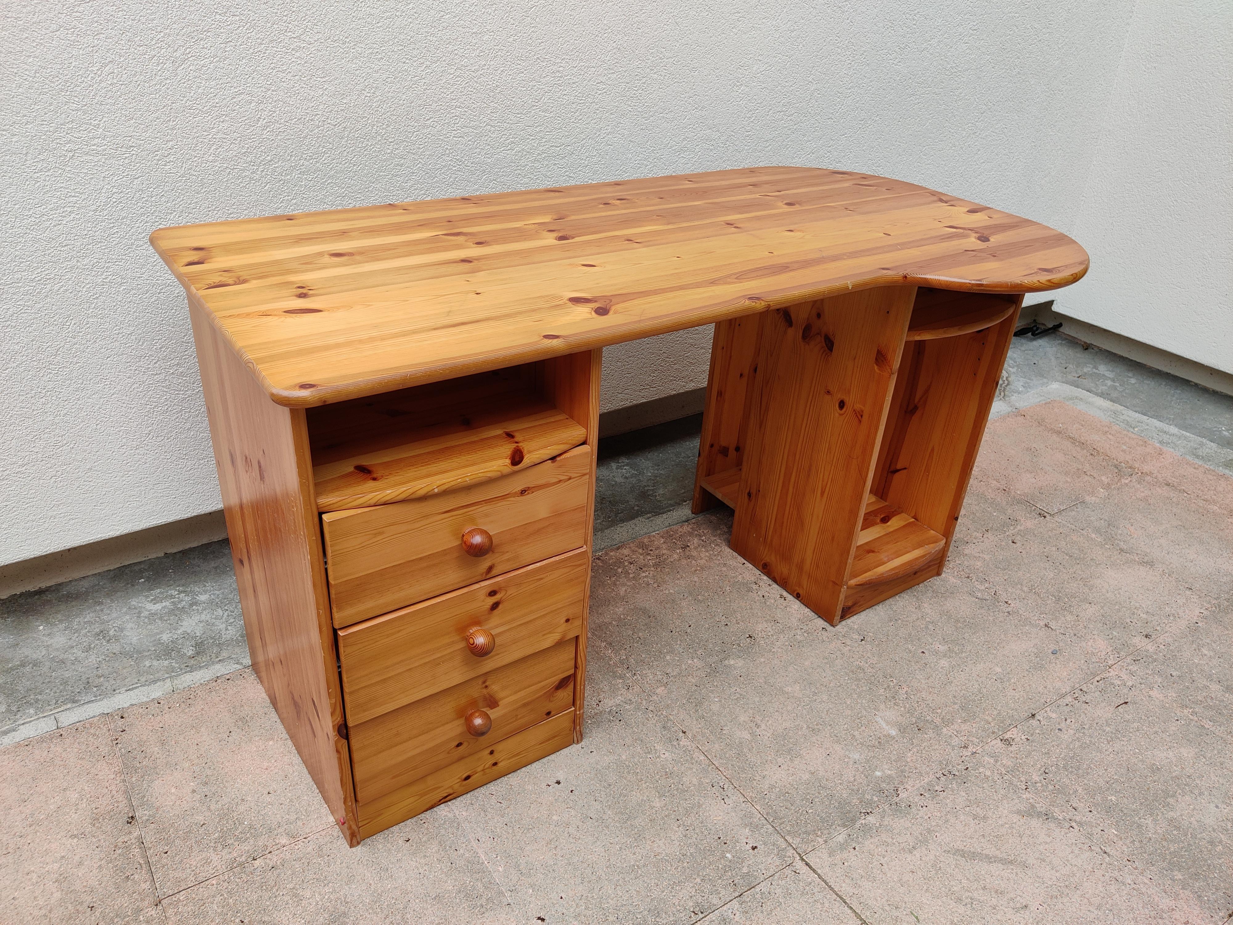 troc de troc bureau en bois brut (avec rangements) image 0