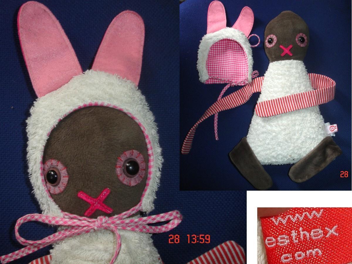 """troc de troc doudou bonhomme à chapeau """"oreilles de lapin"""" velours & tissu image 0"""