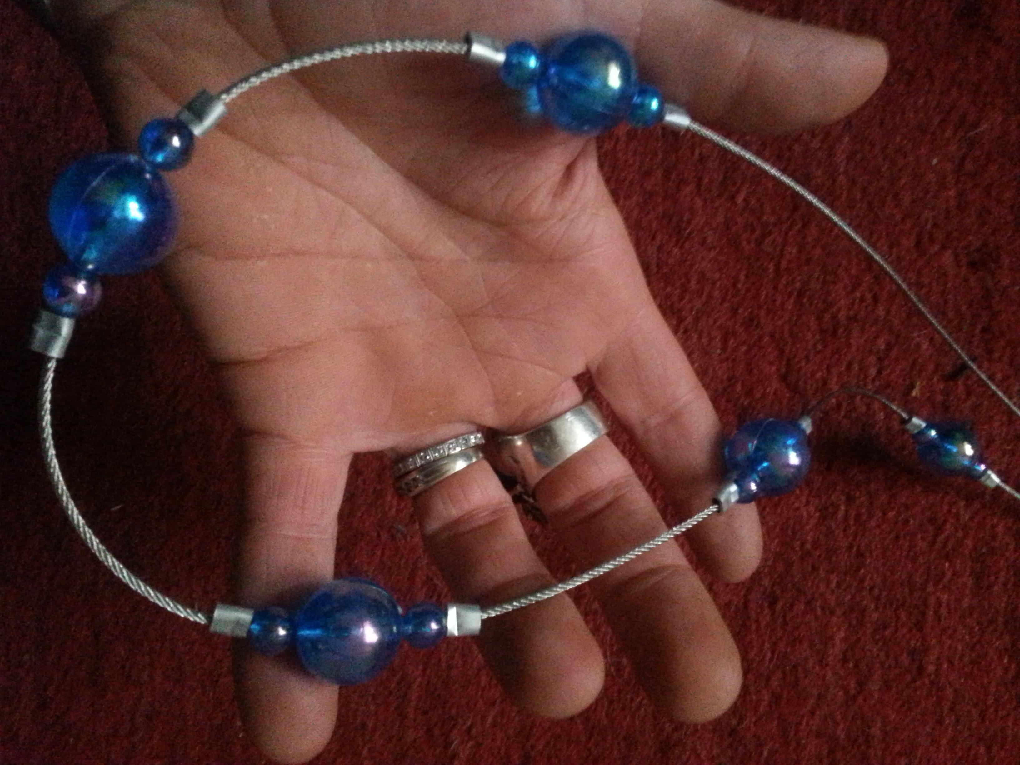 troc de troc (réservé) embrasse de rideau artisanale bleue image 1
