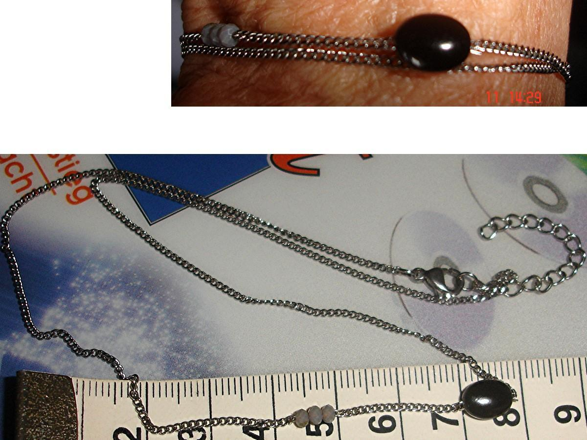 troc de troc collier pierre noire & 3 petites perles grises facettÉes image 0