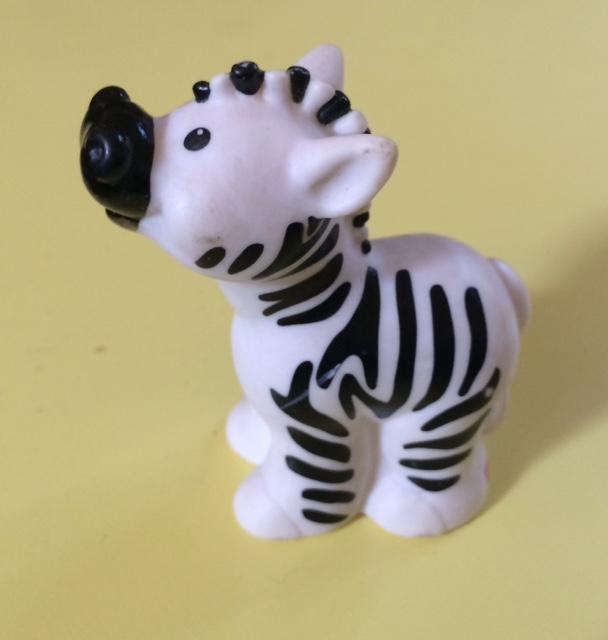 troc de troc figurine bébé zèbre fisher price 1998 - très bon état - 7 cm - plastique image 0