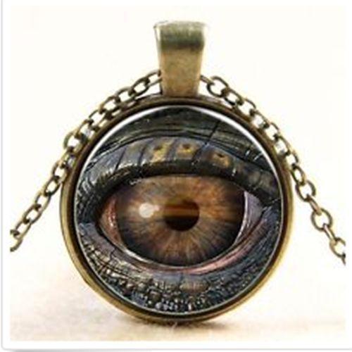 """troc de troc cabochon bronze verre collier chaîne """" mauvais oeil """" + chaine image 0"""