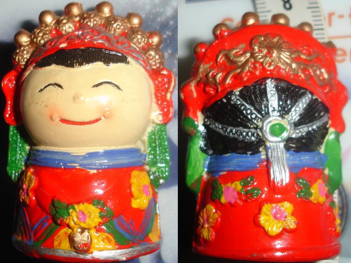 troc de troc 10/11 rés. à troqueuse / figurine chinoise porte bonheur / kokeshi souriante image 0