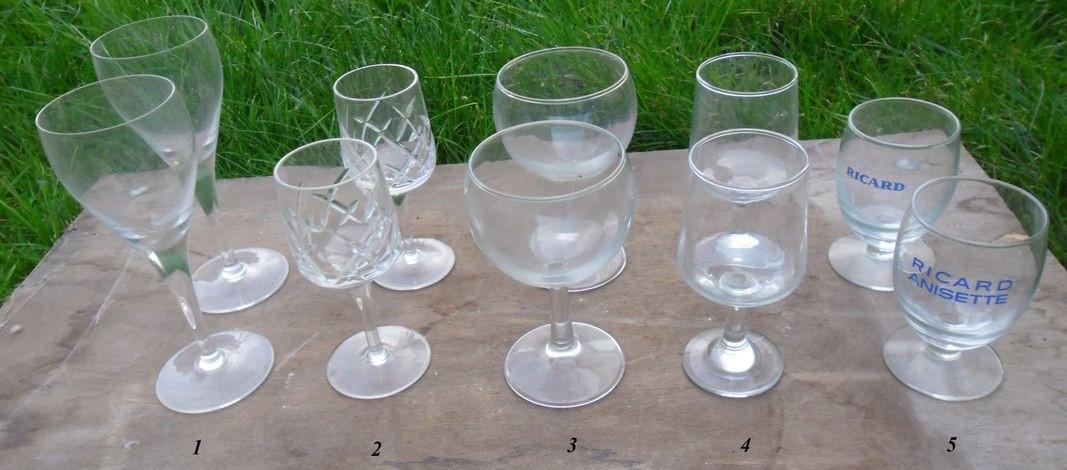 troc de troc diverses paires de verre: champagne,vin, ricard... image 0