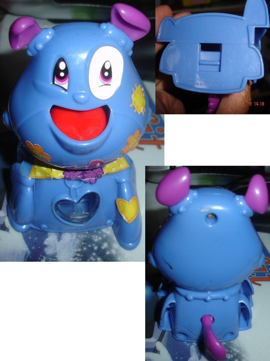 troc de troc figurine mc do de 2012 : chien bleu avec autocollants & petite trappe dessous image 0