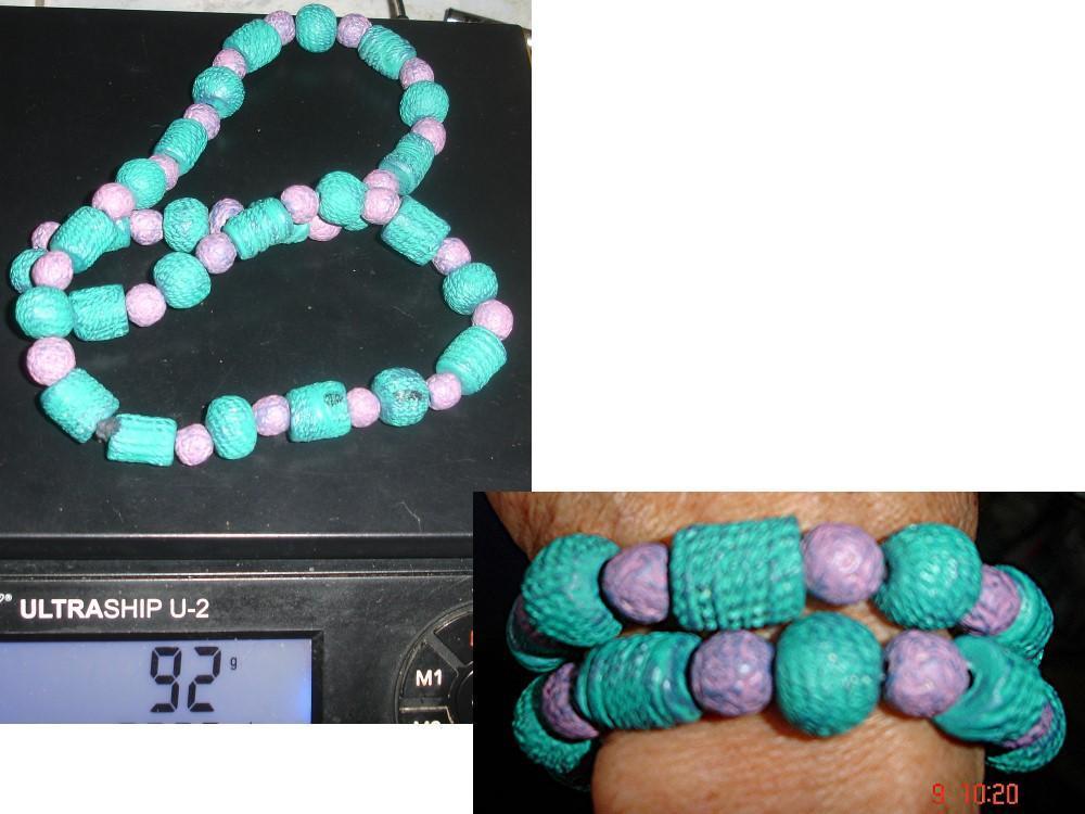 troc de troc collier ethnique vert violet différentes perles céramique peinte image 0