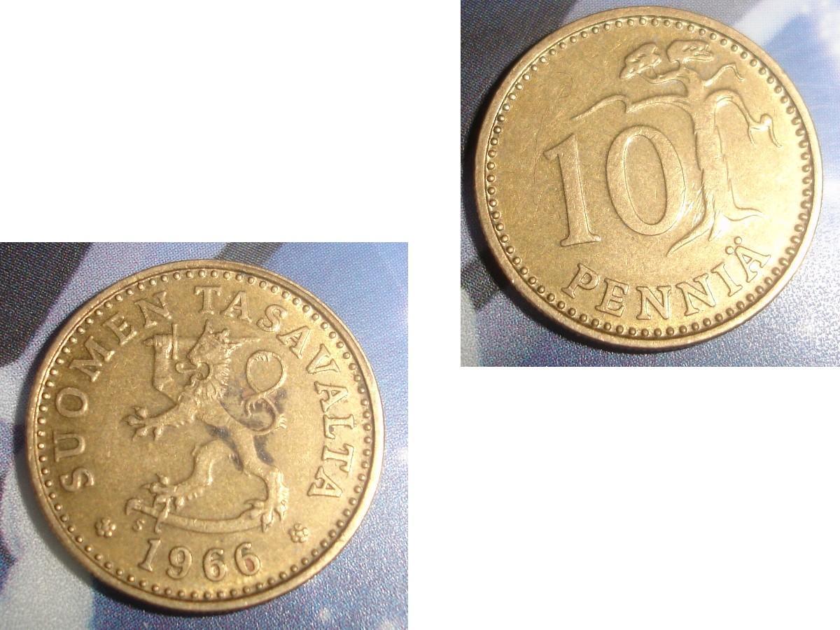 troc de troc 1 pièce monnaie finlande suomen tasavalta 10 penniÄ soit 1963 ou 1966 ou 1978 image 1