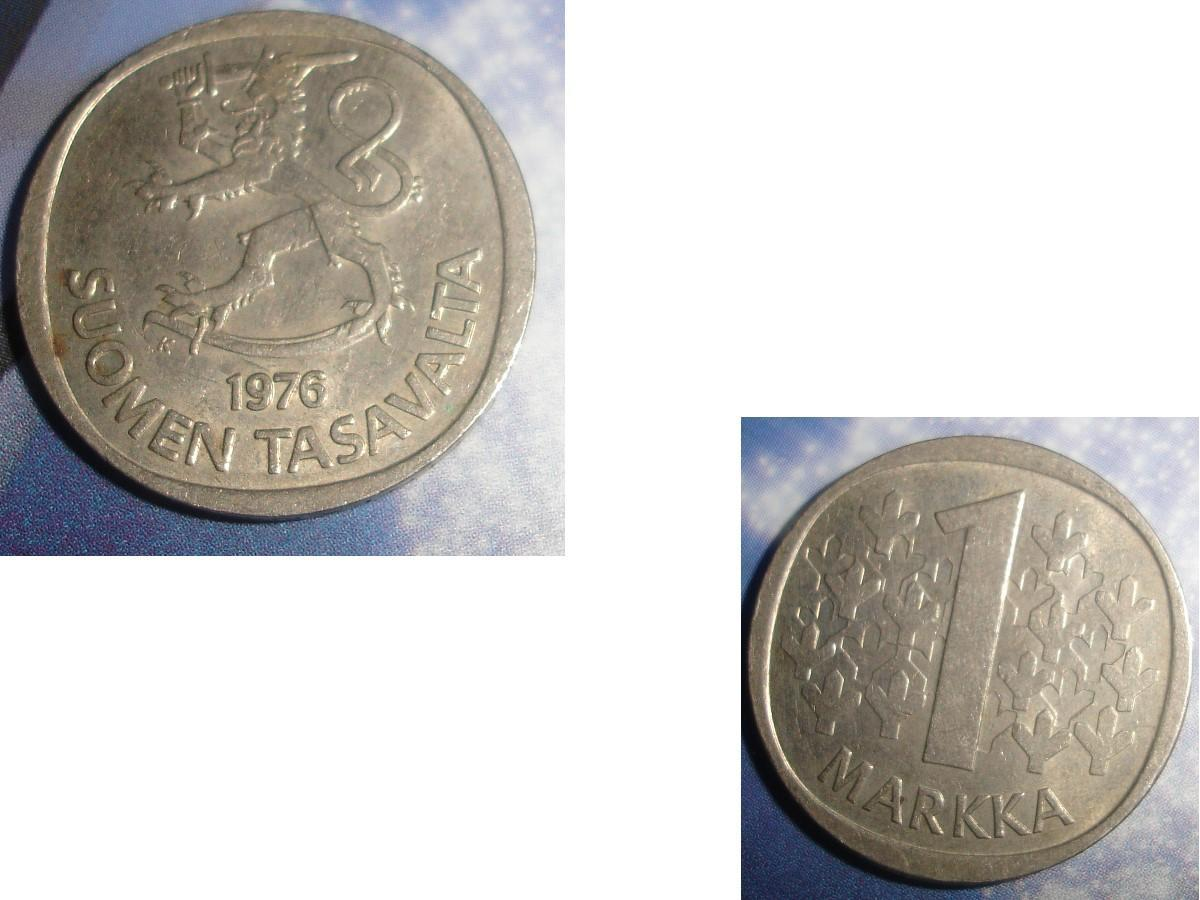 troc de troc 1 pièce monnaie finlande suomen tasavalta 1 markka / mark soit 1976 ou 1977 image 0