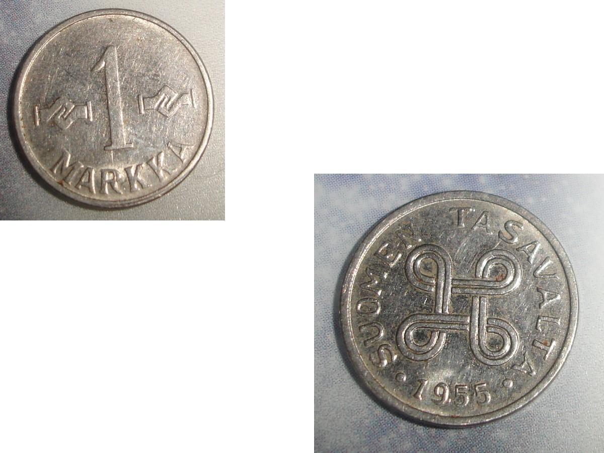 troc de troc 1 monnaie finlande suomen tasavalta 1 markka soit 1955 ou 1957 ou 1960 image 0