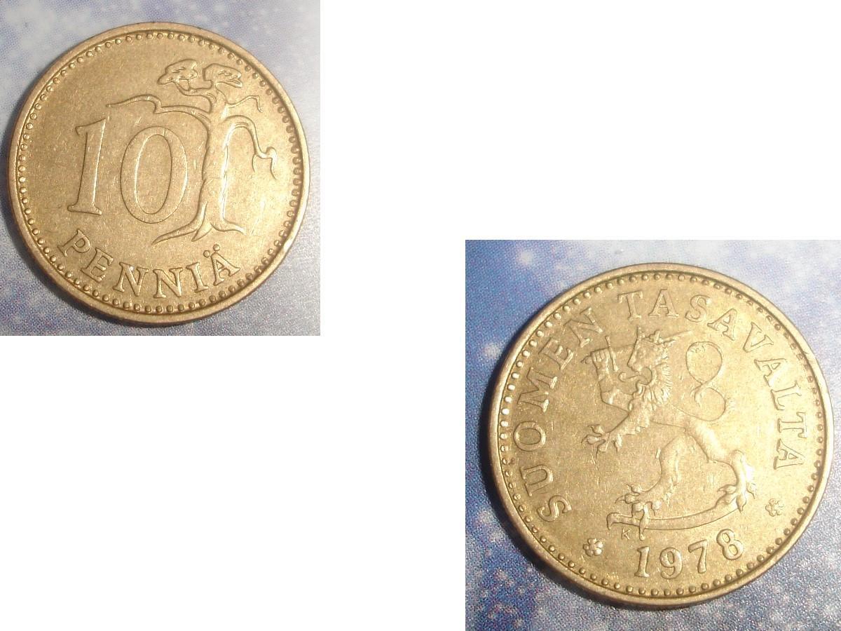 troc de troc 1 pièce monnaie finlande suomen tasavalta 10 penniÄ soit 1963 ou 1966 ou 1978 image 2