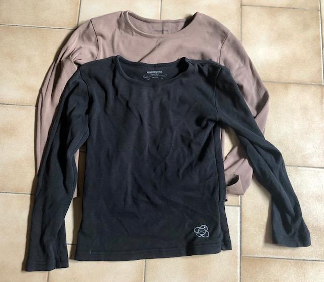 troc de troc 2 t-shirts manches longues beige noir 10 ans orchestra image 0