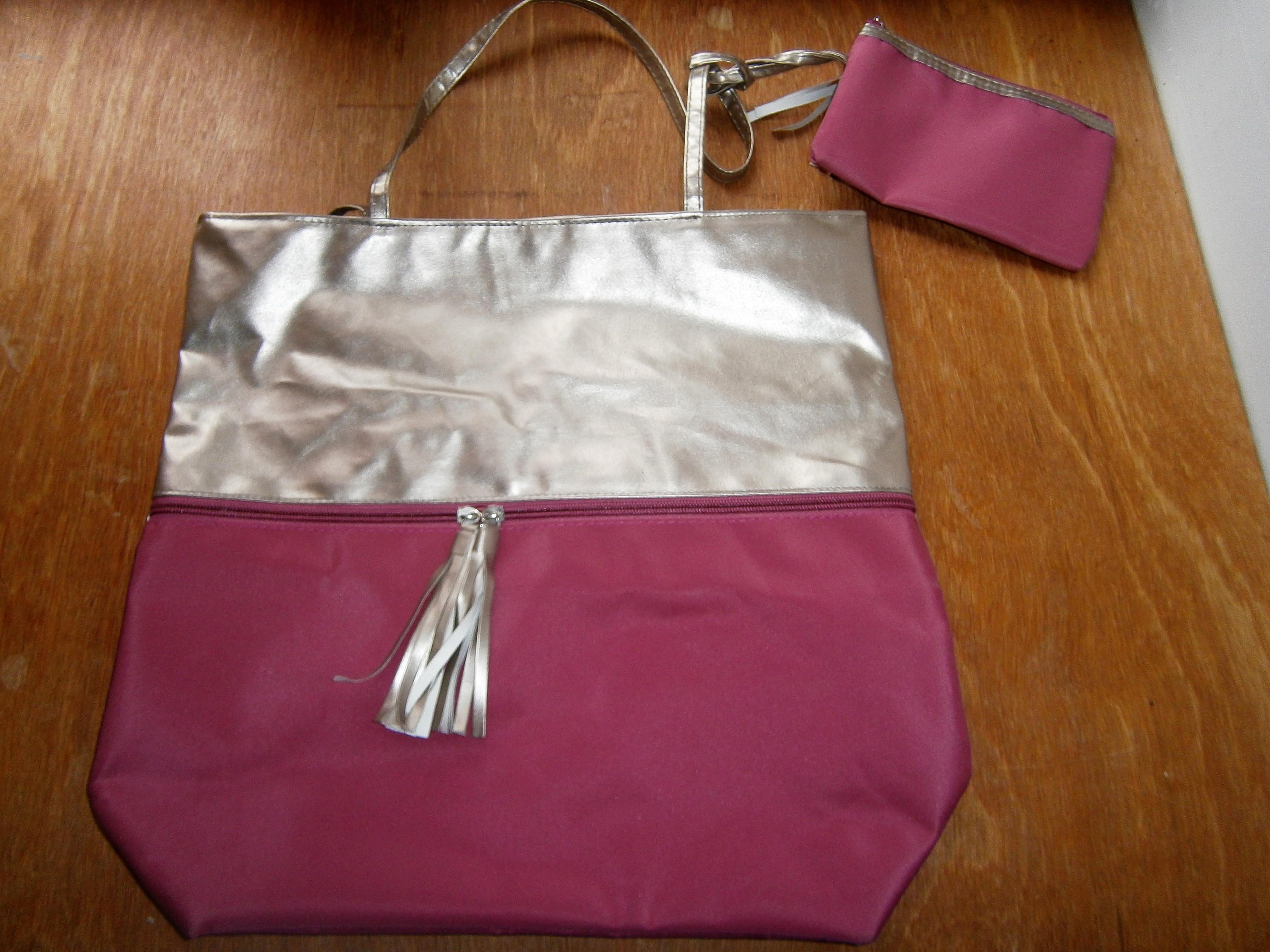 troc de troc sac et pochette rose et doré image 0