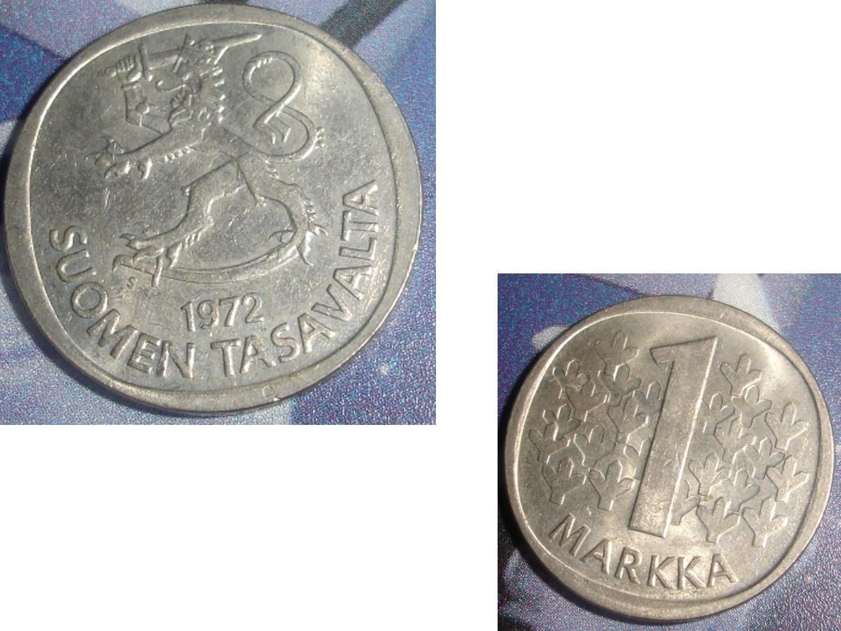troc de troc 1 pièce monnaie finlande suomen tasavalta 1 markka / mark soit 1972 ou 1974 ou 1975 image 0
