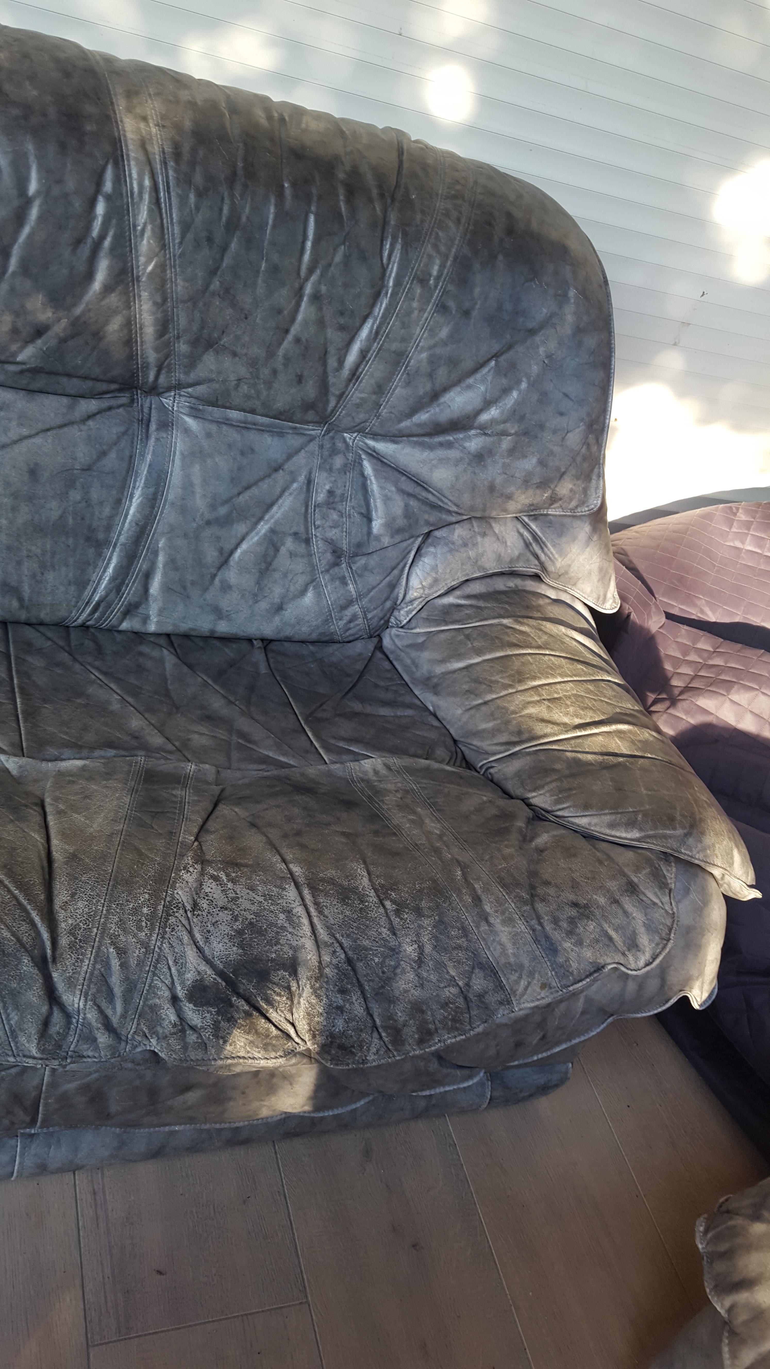 troc de troc canapé deux places gris en cuir : a rénover image 1