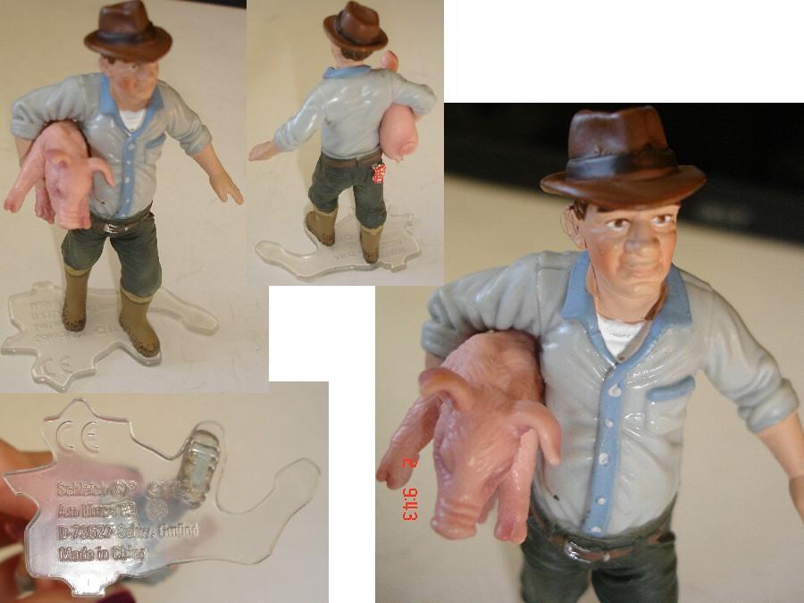troc de troc figurine de qualité n° 4 : schleich / fermier + petit cochon 9 cm image 0