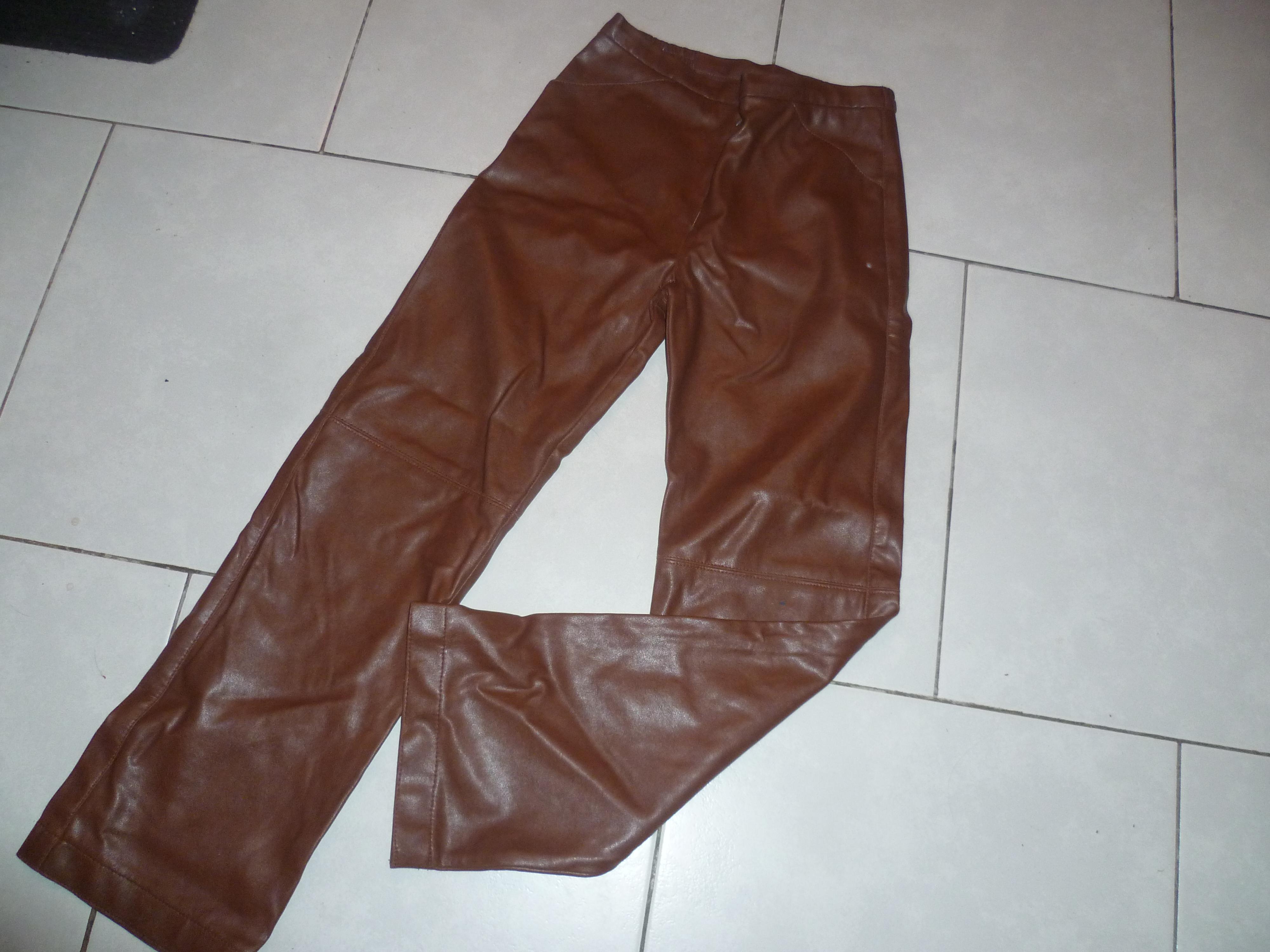 troc de troc pantalon cfk - simili marron image 0