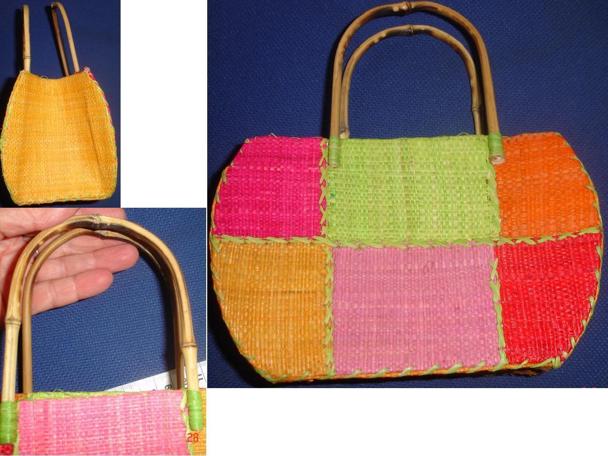 troc de troc petit sac paille osier couleurs pastels avec anses bambou image 1