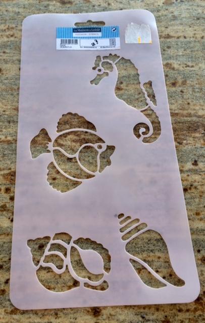 troc de troc lot 3 pochoirs plastique - thème océan - poissons, coquillages, hippocampes image 0