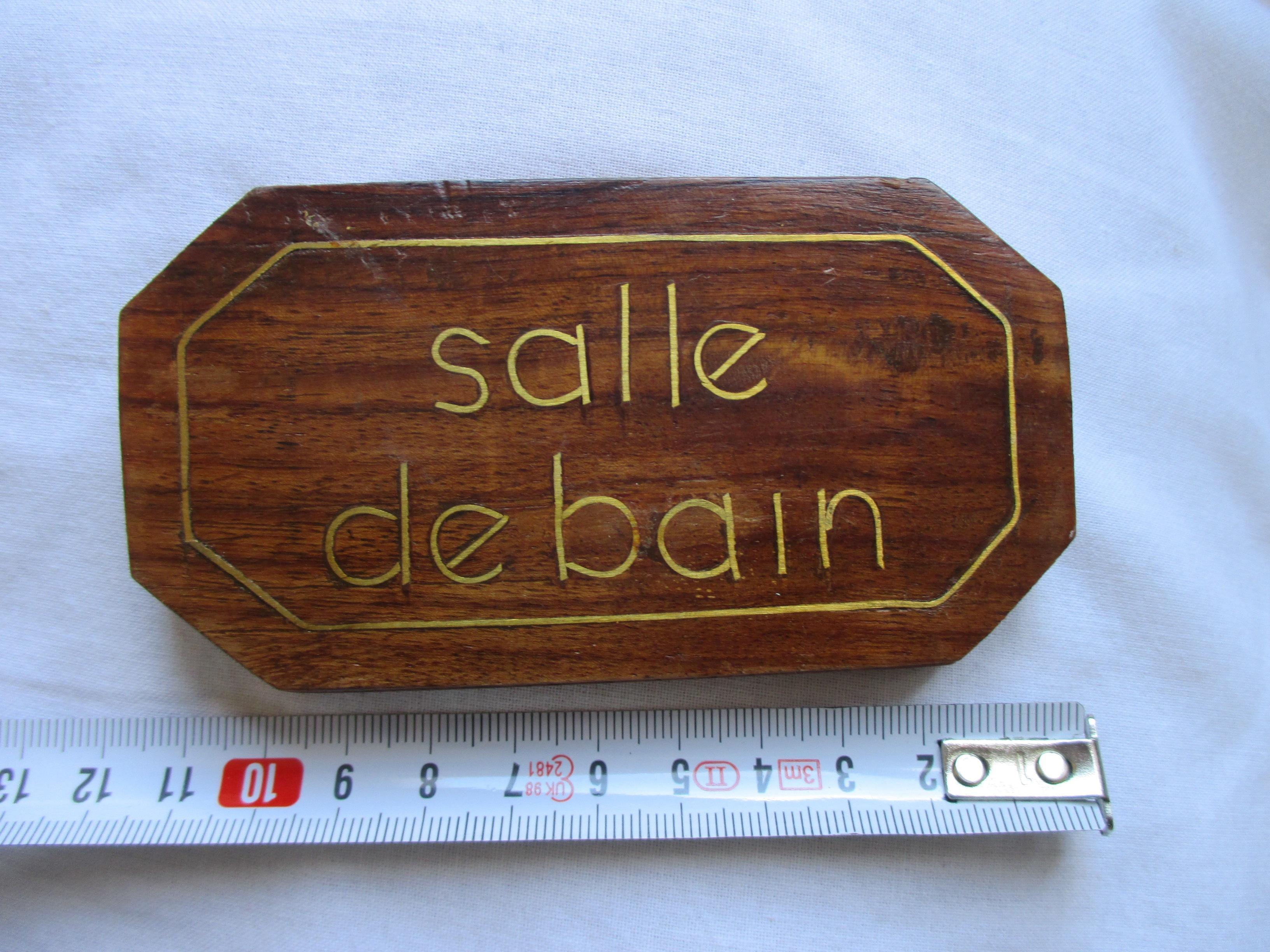 """troc de troc à lyon = plaque de porte """"salle de bain"""" en bois image 0"""