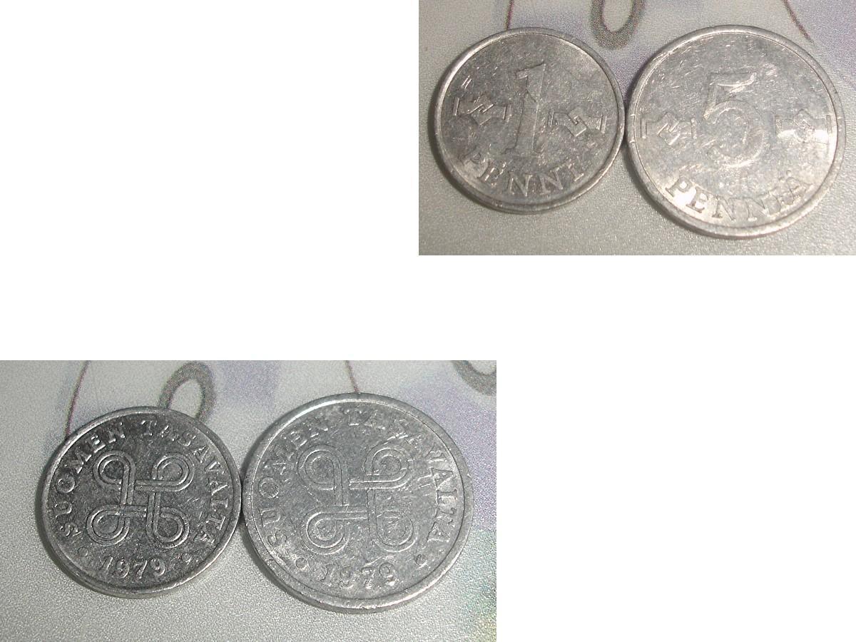 troc de troc 1 lot de 2 monnaies 1 penni & 5 penniÄ soit 1978 ou 1979 de suomen finlande image 1