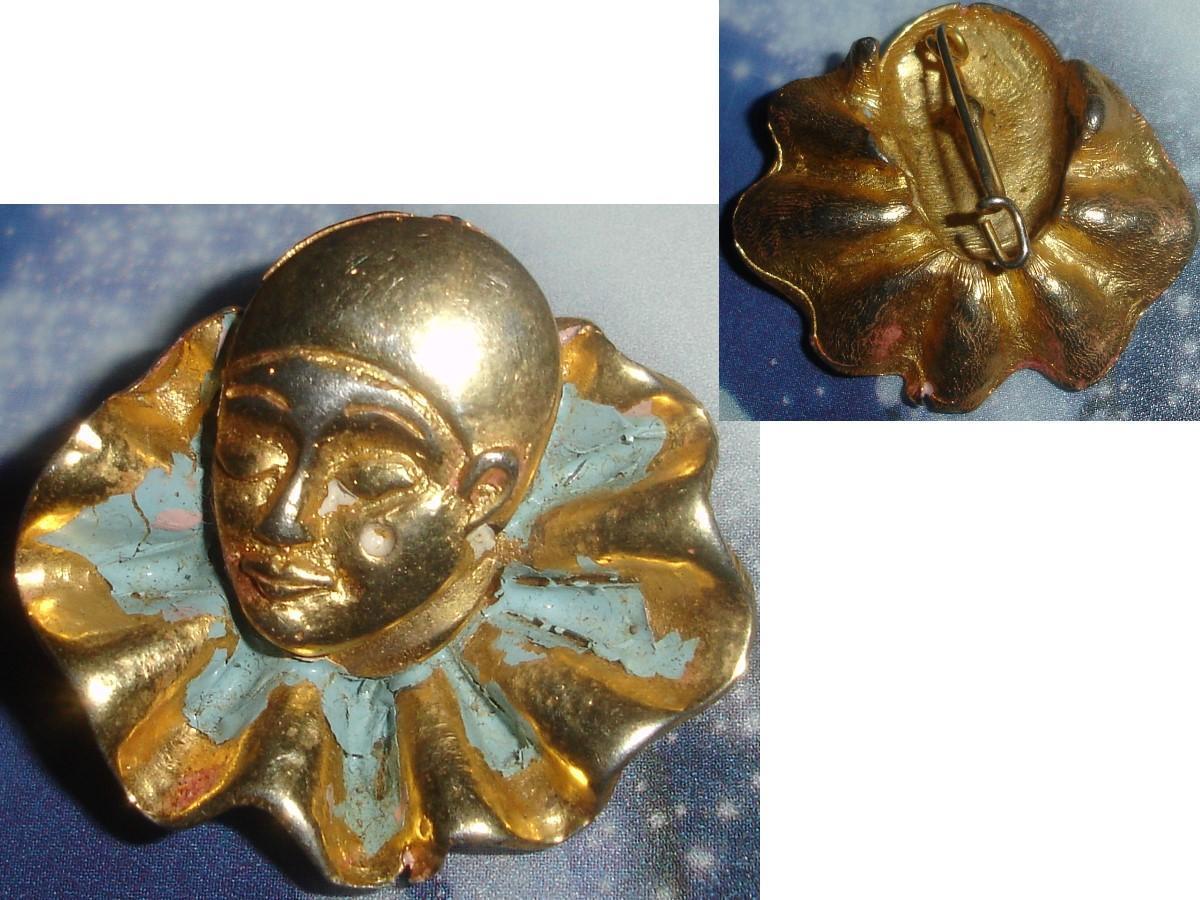 troc de troc vintage : broche pierrot / arlequin anciennement peinte (restes) image 0