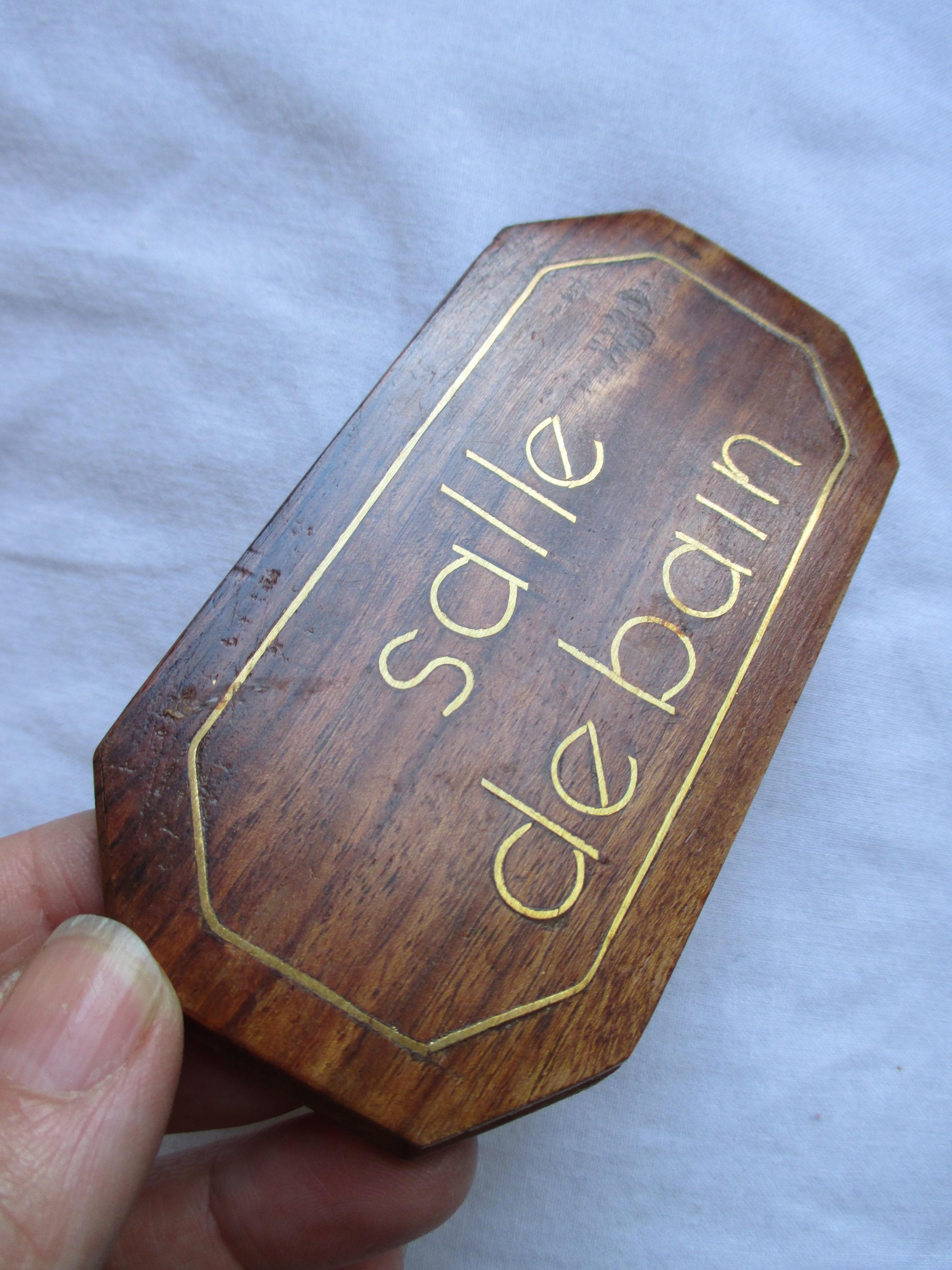 """troc de troc à lyon = plaque de porte """"salle de bain"""" en bois image 1"""