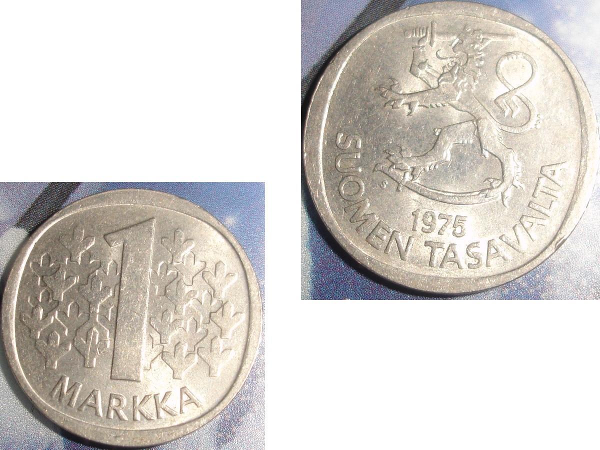 troc de troc 1 pièce monnaie finlande suomen tasavalta 1 markka / mark soit 1972 ou 1974 ou 1975 image 2