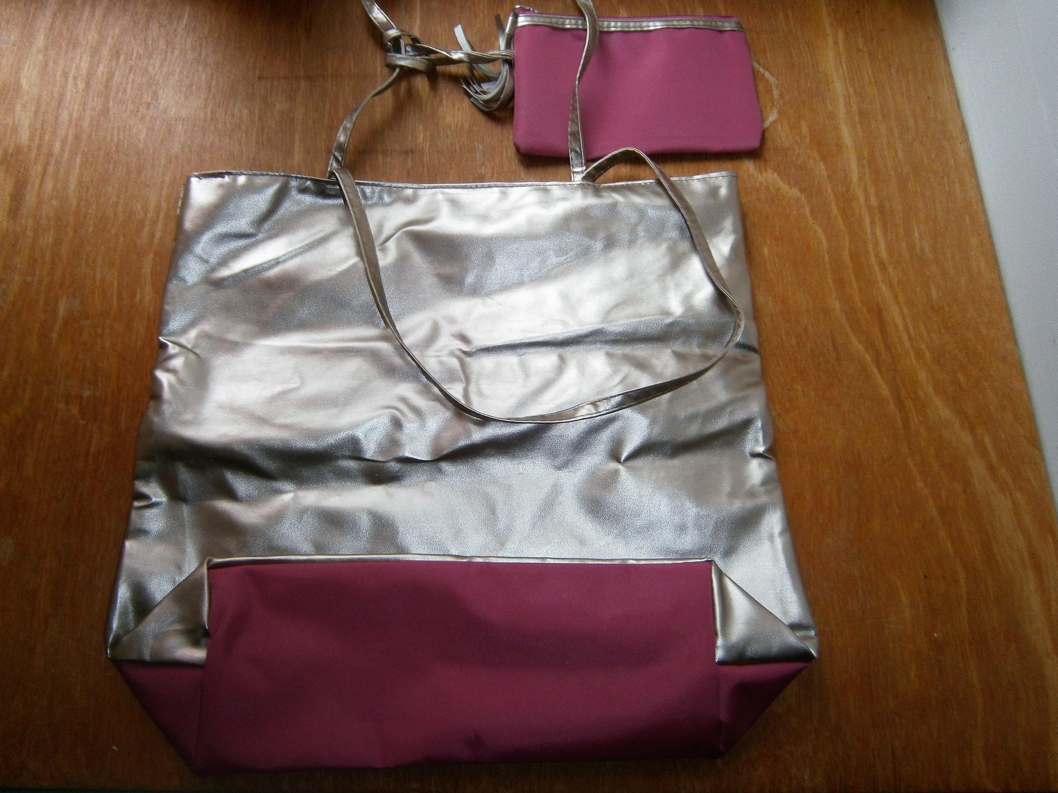 troc de troc sac et pochette rose et doré image 1